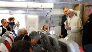 Pope Francis speaks to journalists aboard his flight from Rome to Havana Sept. 19. (CNS photo/Paul Haring) See POPE-CUBA-ARRIVE Sept. 19, 2015.